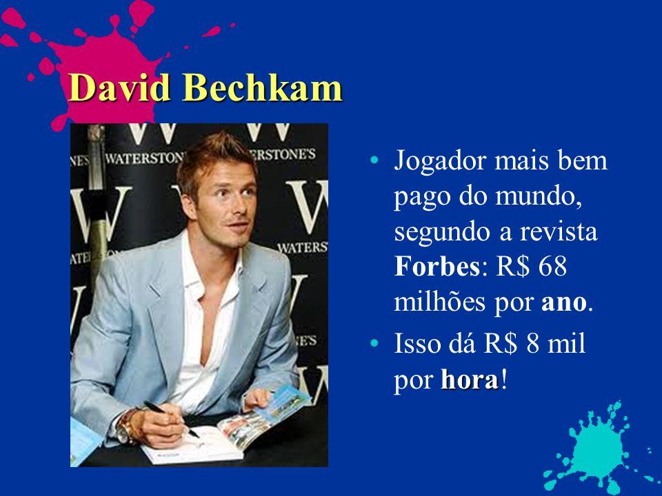 David BechkamJogador mais bem pago do mundo, segundo a revista Forbes: R$ 68 milhões por ano.