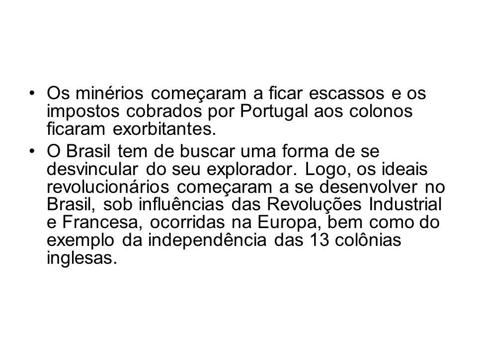 Os minérios começaram a ficar escassos e os impostos cobrados por Portugal aos colonos ficaram exorbitantes.