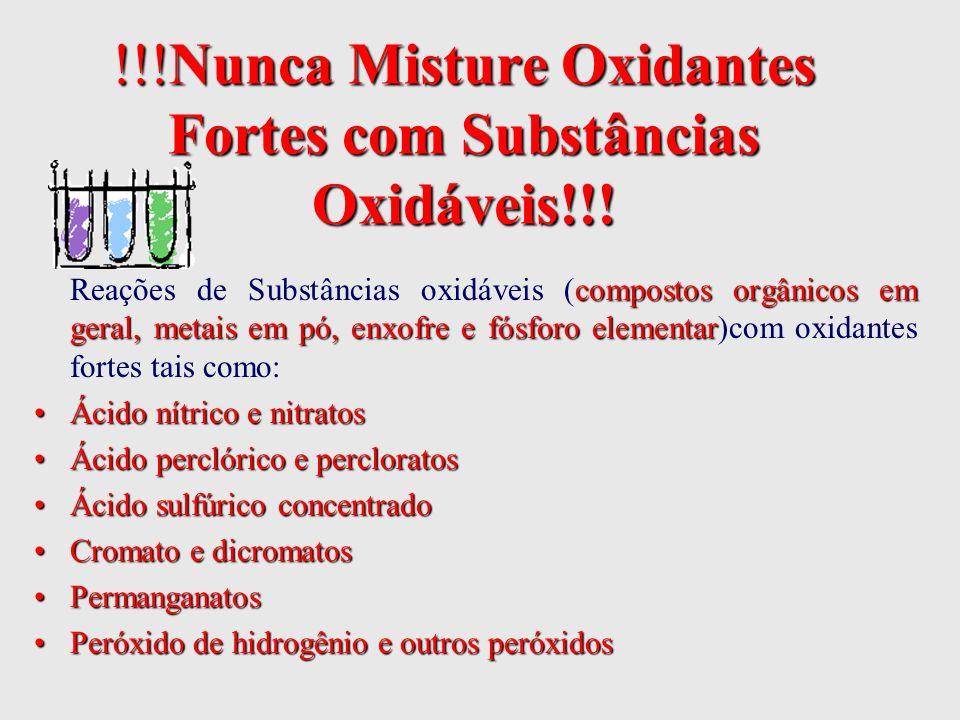 !!!Nunca Misture Oxidantes Fortes com Substâncias Oxidáveis!!!