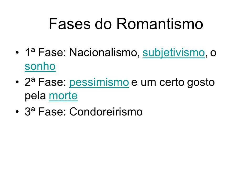 Fases do Romantismo 1ª Fase: Nacionalismo, subjetivismo, o sonho