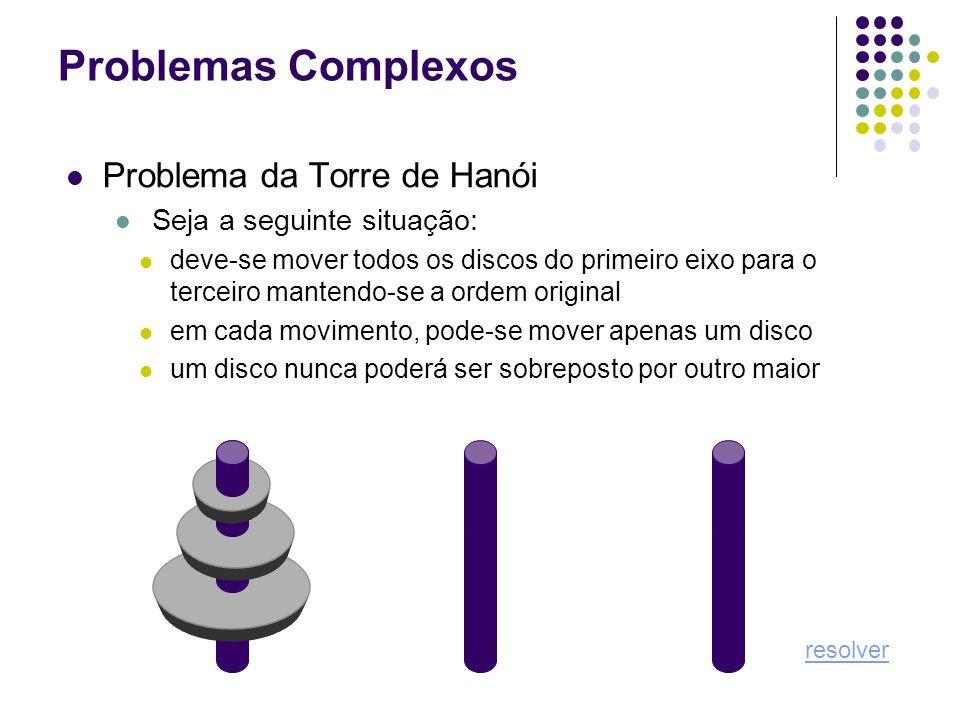 Problemas Complexos Problema da Torre de Hanói