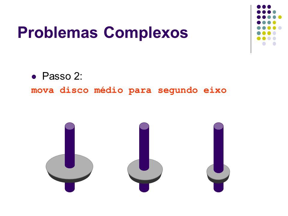Problemas Complexos Passo 2: mova disco médio para segundo eixo