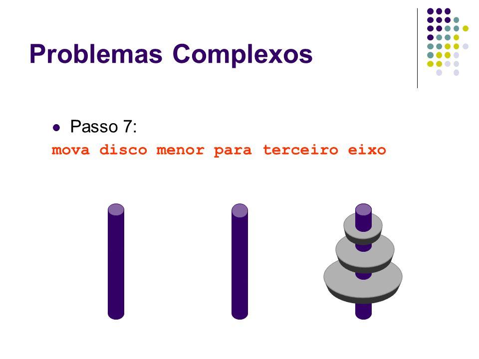 Problemas Complexos Passo 7: mova disco menor para terceiro eixo