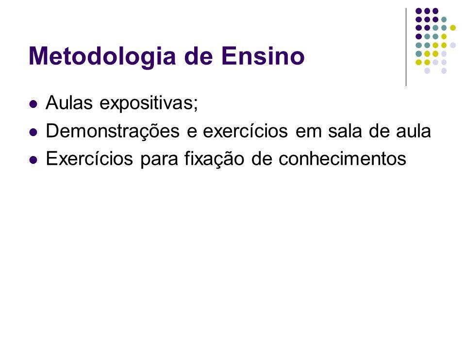 Metodologia de Ensino Aulas expositivas;