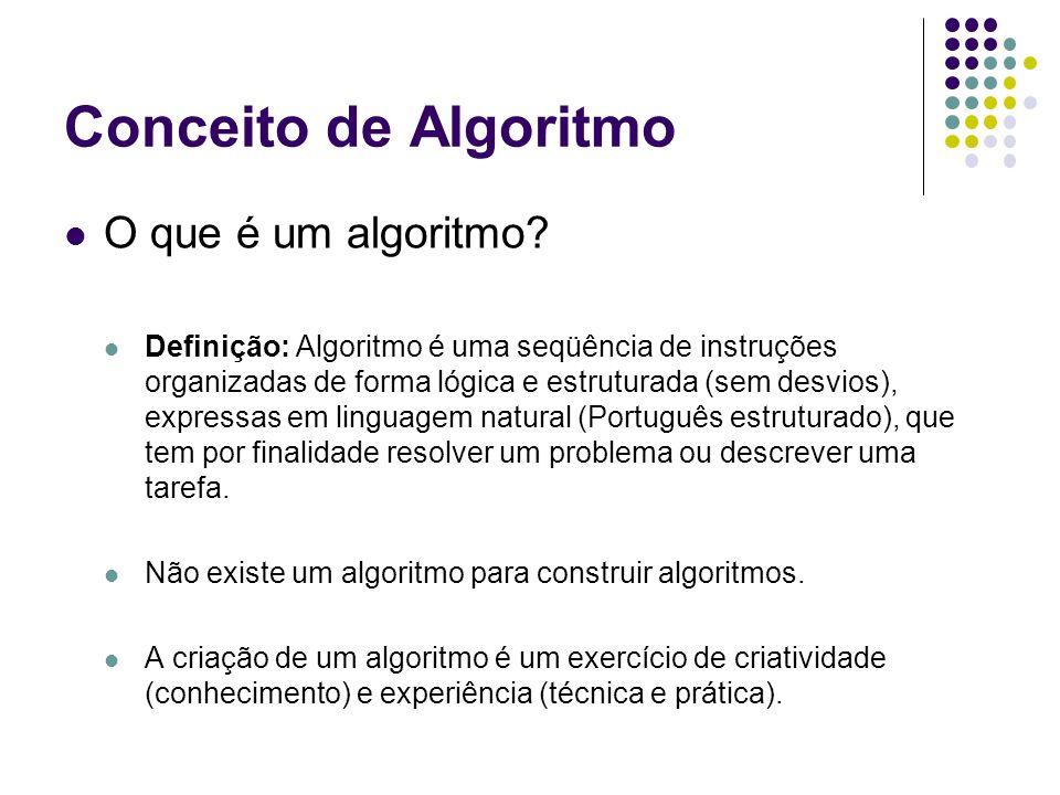 Conceito de Algoritmo O que é um algoritmo