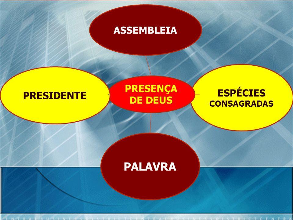 ASSEMBLEIA ESPÉCIES CONSAGRADAS PRESIDENTE PRESENÇA DE DEUS PALAVRA