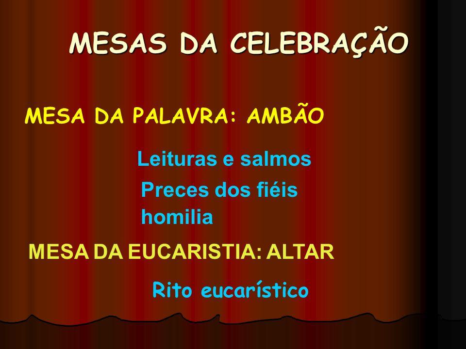 MESAS DA CELEBRAÇÃO MESA DA PALAVRA: AMBÃO Leituras e salmos