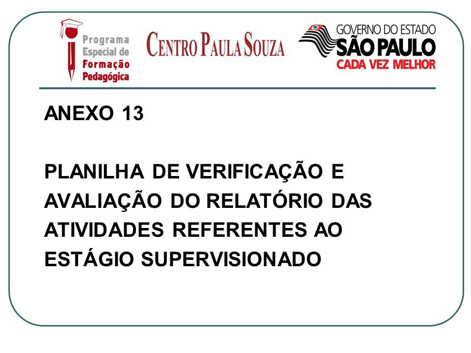 ANEXO 13 PLANILHA DE VERIFICAÇÃO E. AVALIAÇÃO DO RELATÓRIO DAS.