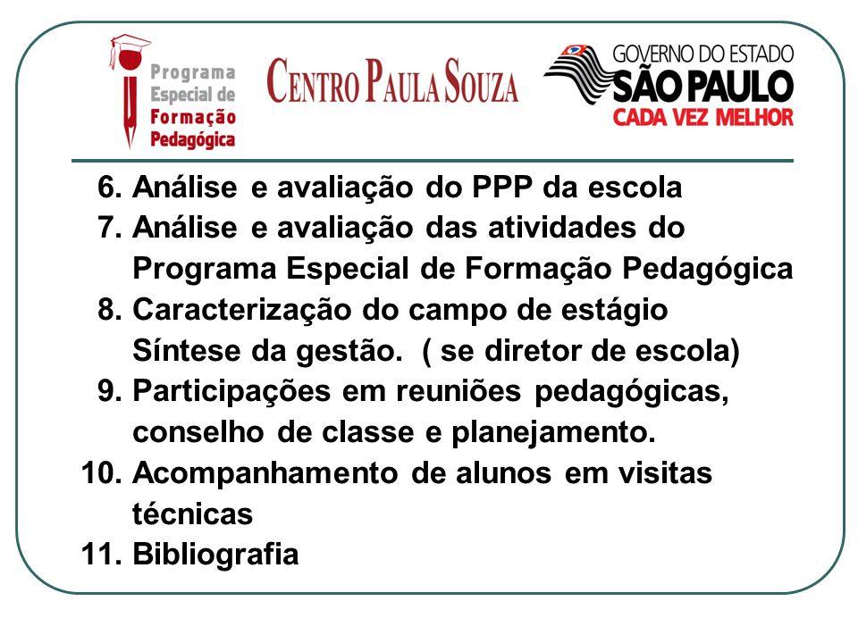 6. Análise e avaliação do PPP da escola