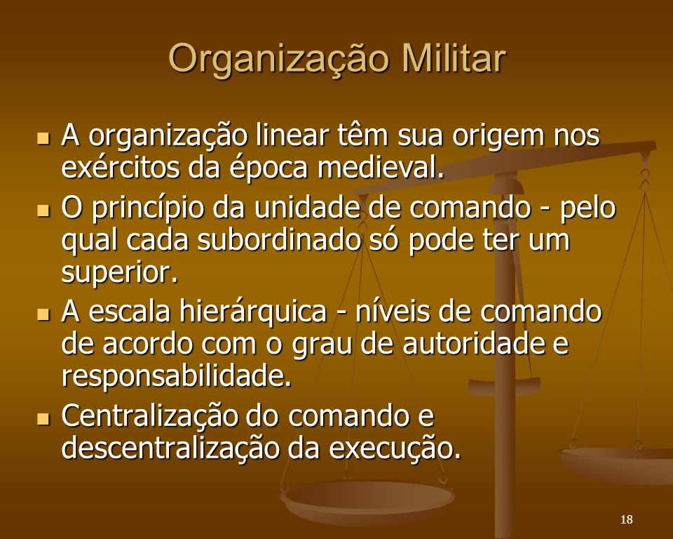 Organização Militar A organização linear têm sua origem nos exércitos da época medieval.