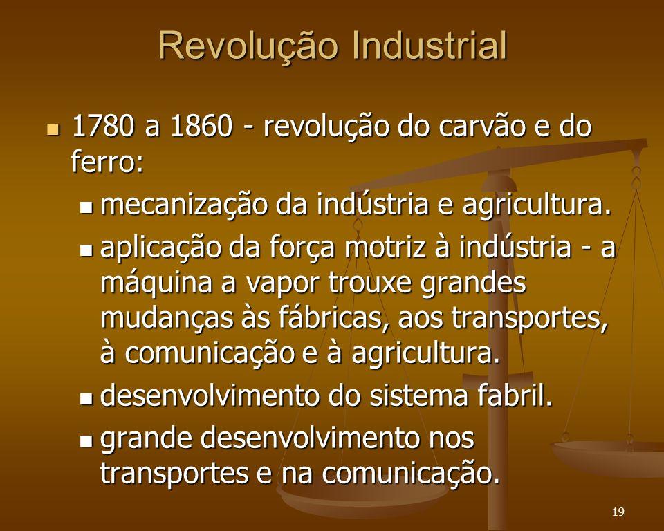 Revolução Industrial 1780 a 1860 - revolução do carvão e do ferro: