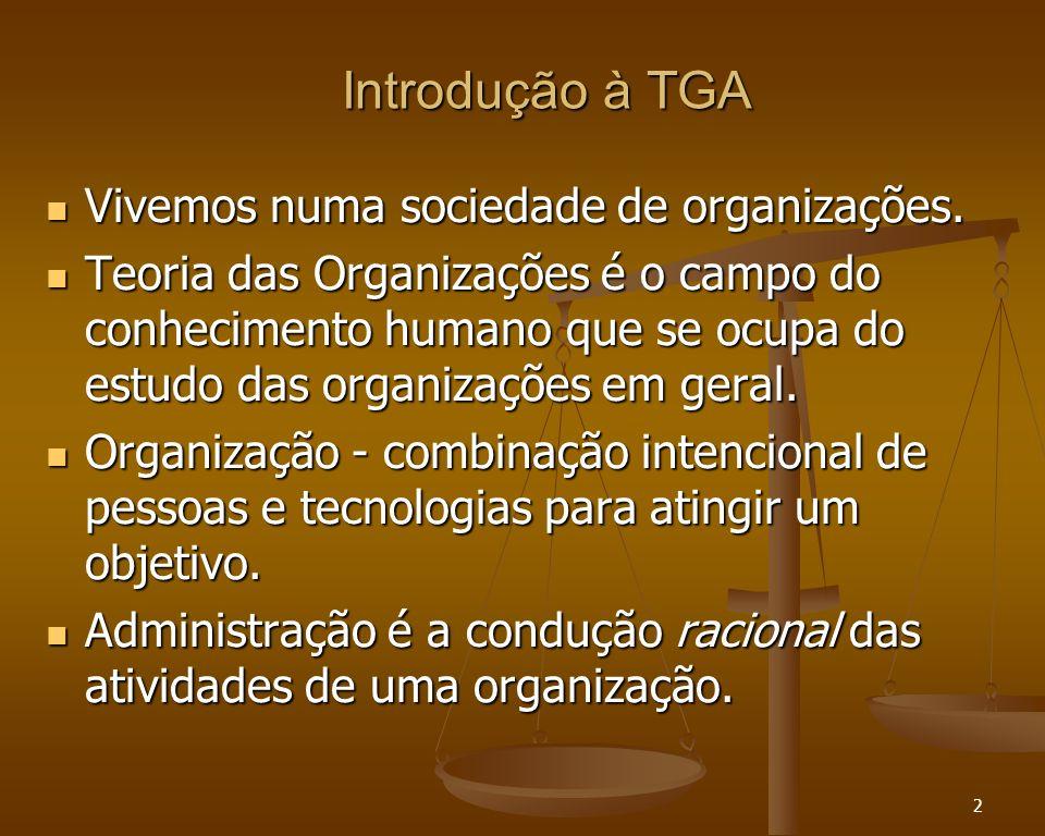 Introdução à TGA Vivemos numa sociedade de organizações.