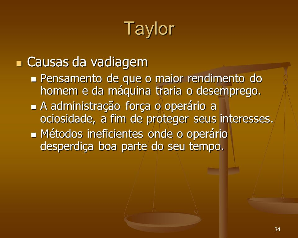 Taylor Causas da vadiagem