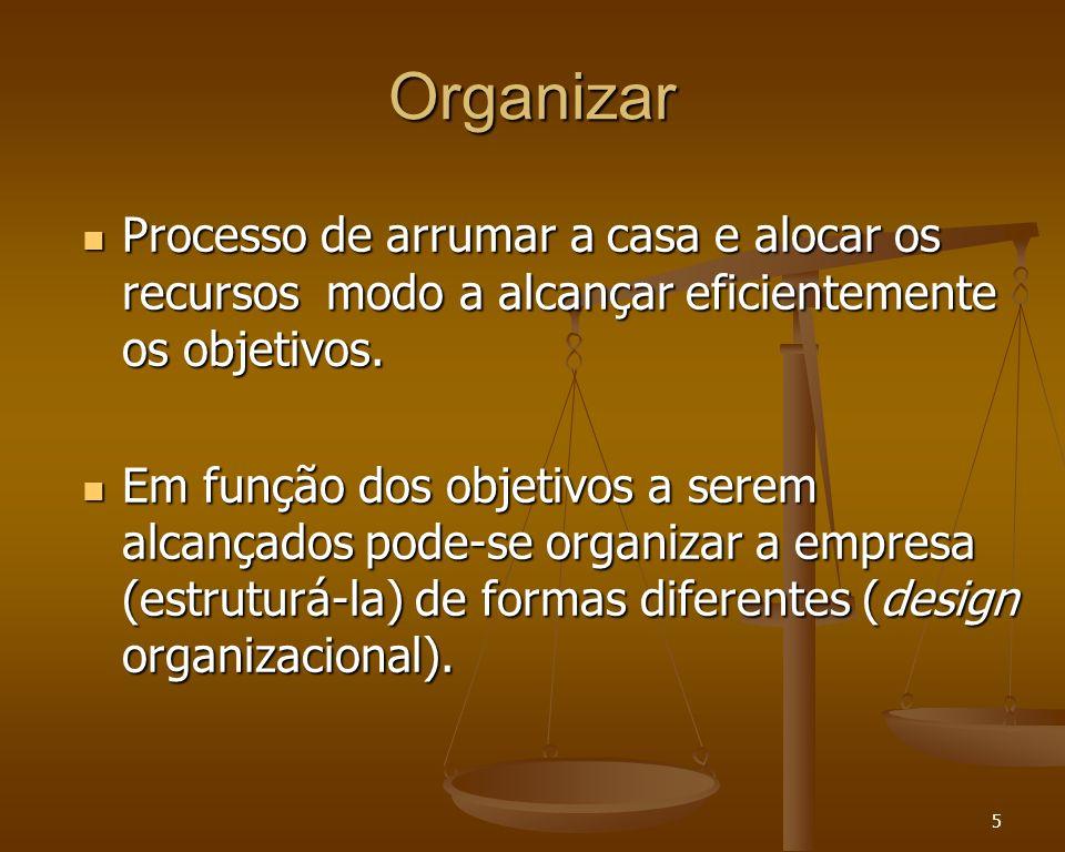Organizar Processo de arrumar a casa e alocar os recursos modo a alcançar eficientemente os objetivos.