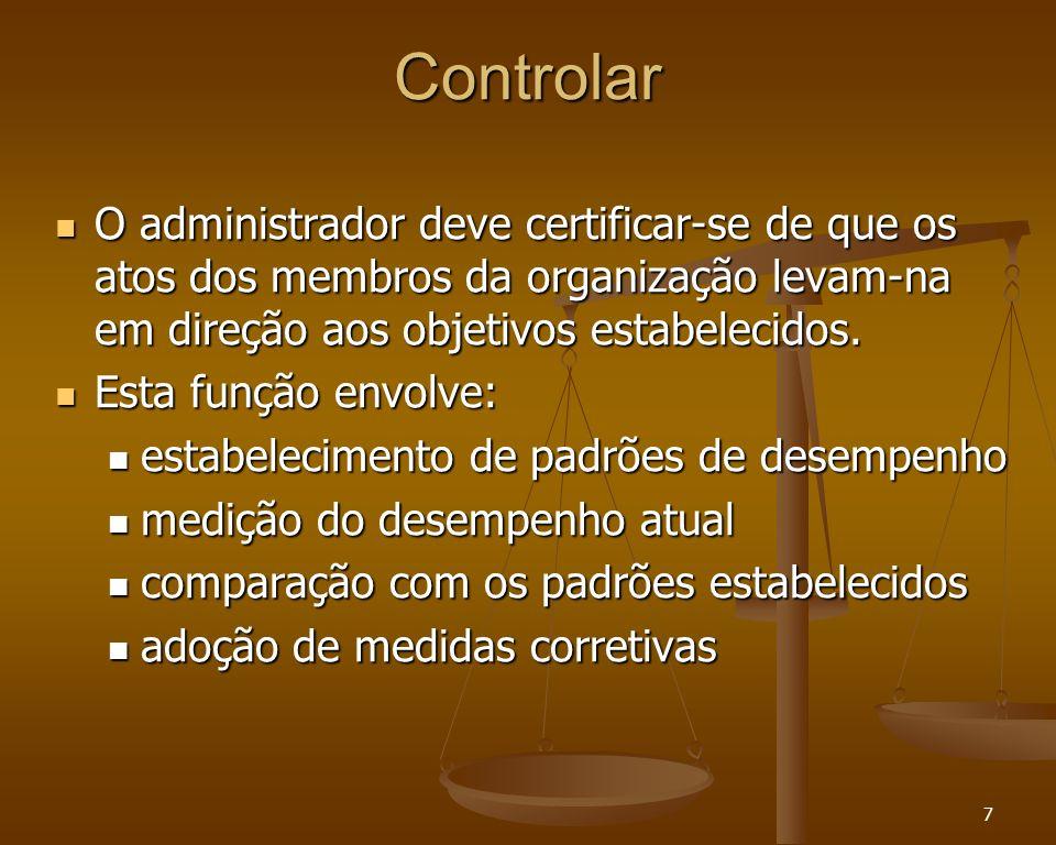 Controlar O administrador deve certificar-se de que os atos dos membros da organização levam-na em direção aos objetivos estabelecidos.