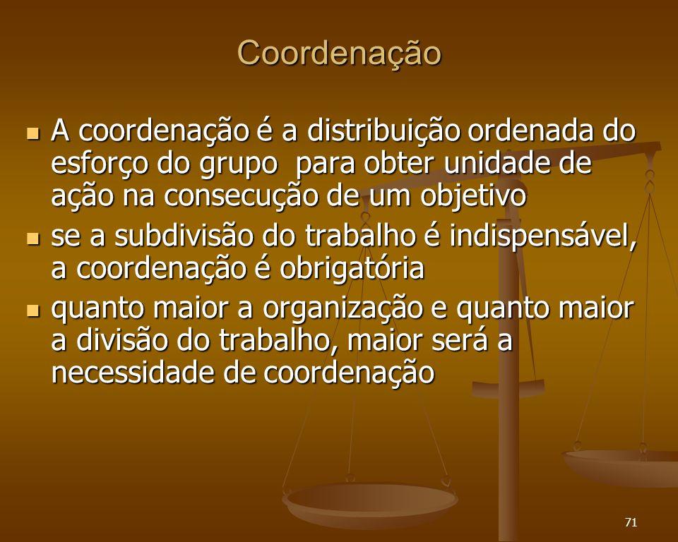 Coordenação A coordenação é a distribuição ordenada do esforço do grupo para obter unidade de ação na consecução de um objetivo.