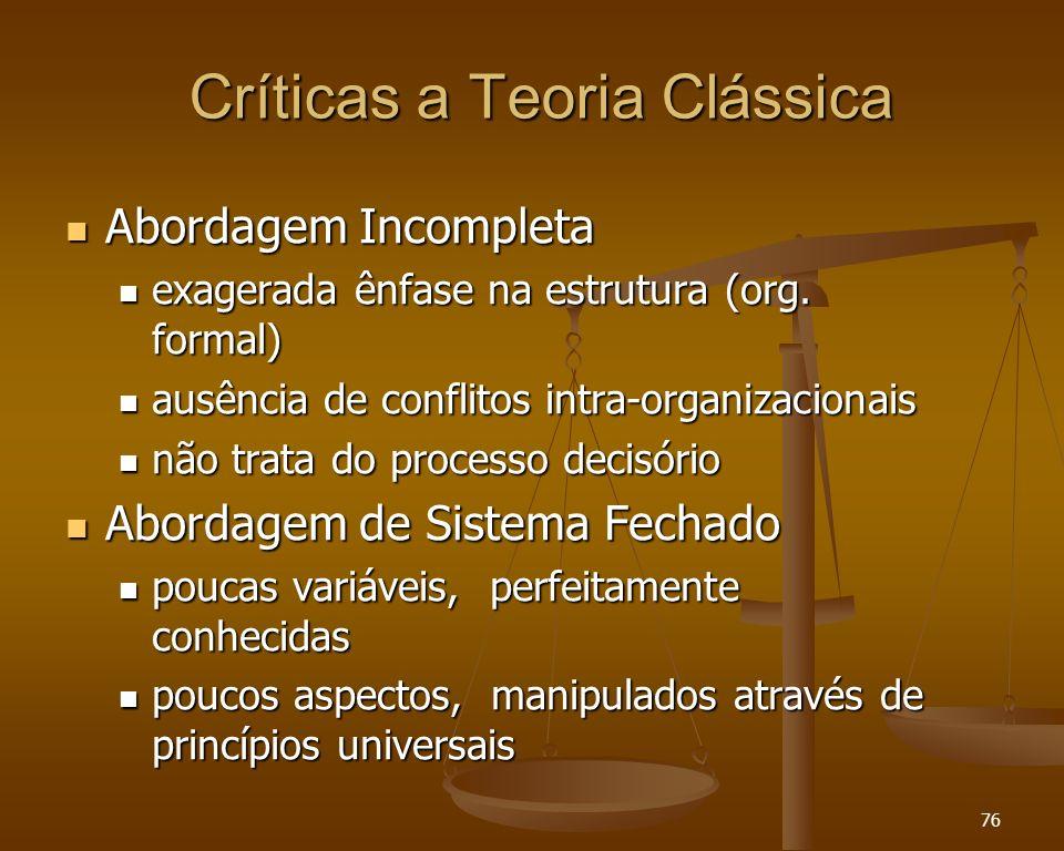 Críticas a Teoria Clássica