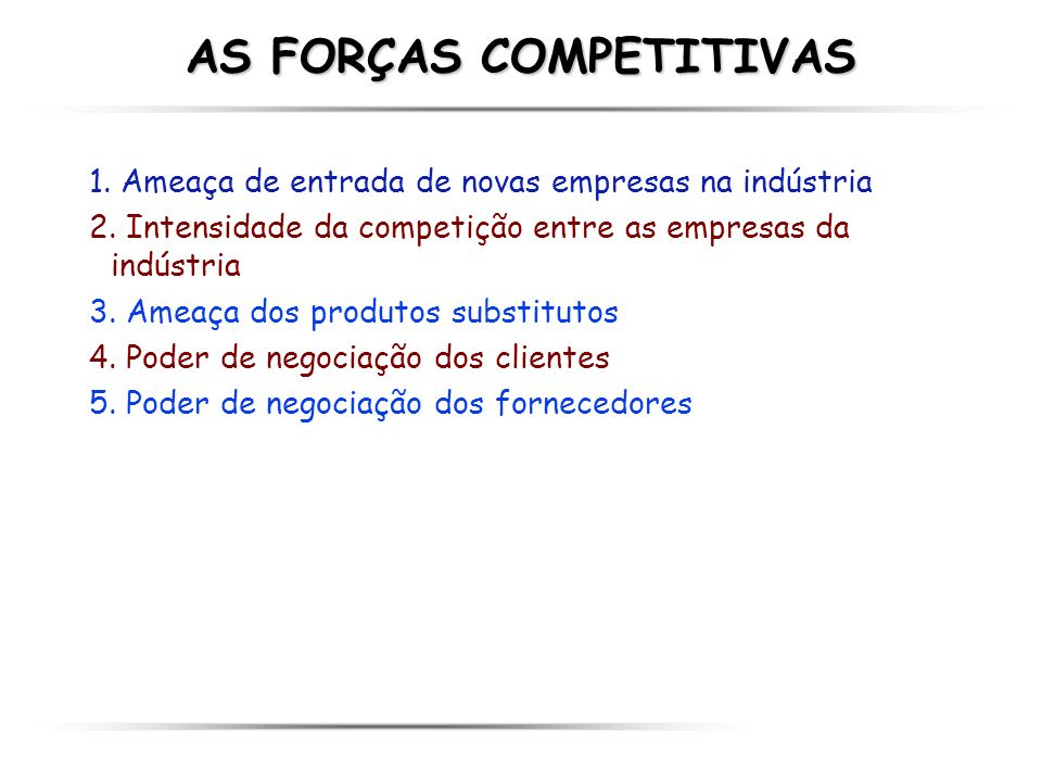 AS FORÇAS COMPETITIVAS
