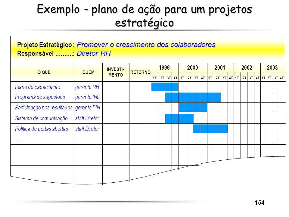 Exemplo - plano de ação para um projetos estratégico