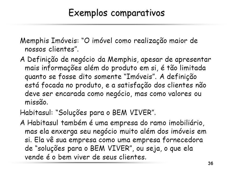 Exemplos comparativos