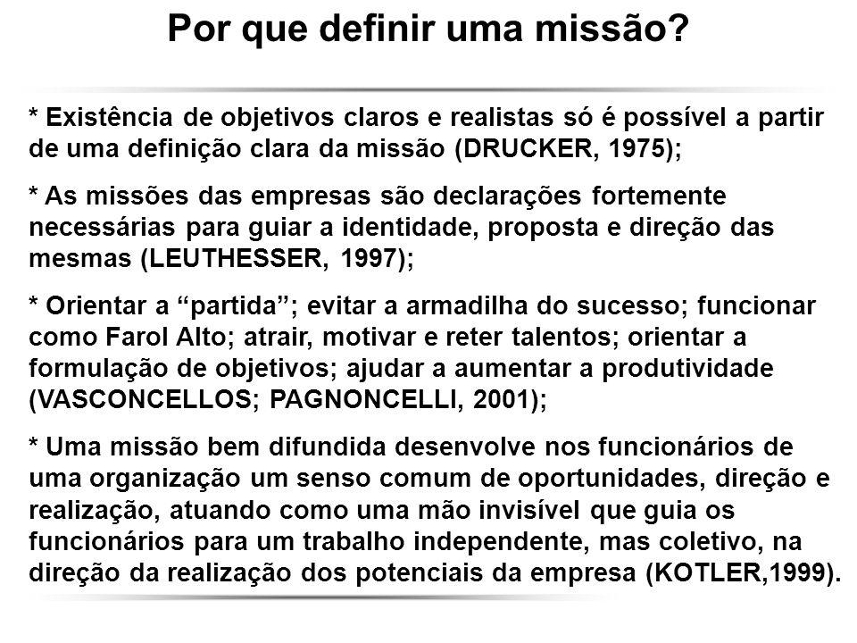 Por que definir uma missão