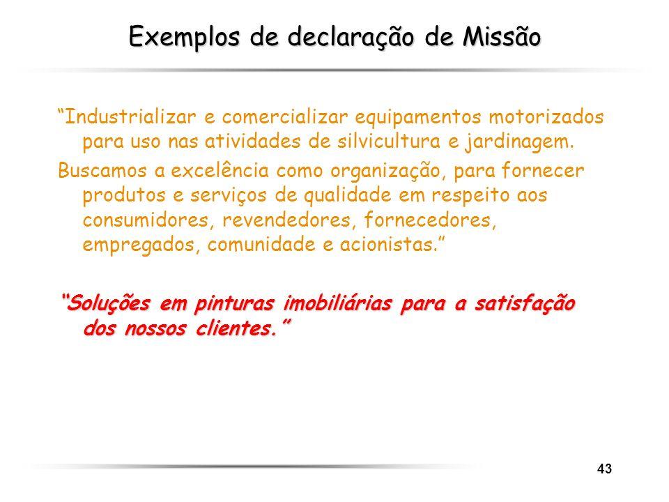 Exemplos de declaração de Missão