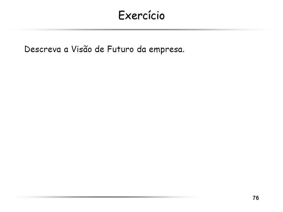 Exercício Descreva a Visão de Futuro da empresa.