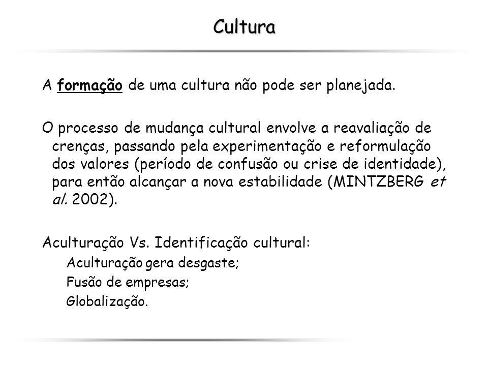 Cultura A formação de uma cultura não pode ser planejada.