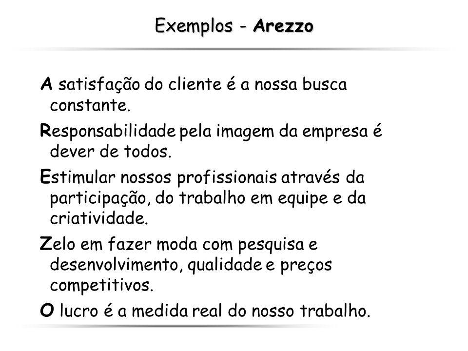 Exemplos - Arezzo A satisfação do cliente é a nossa busca constante. Responsabilidade pela imagem da empresa é dever de todos.