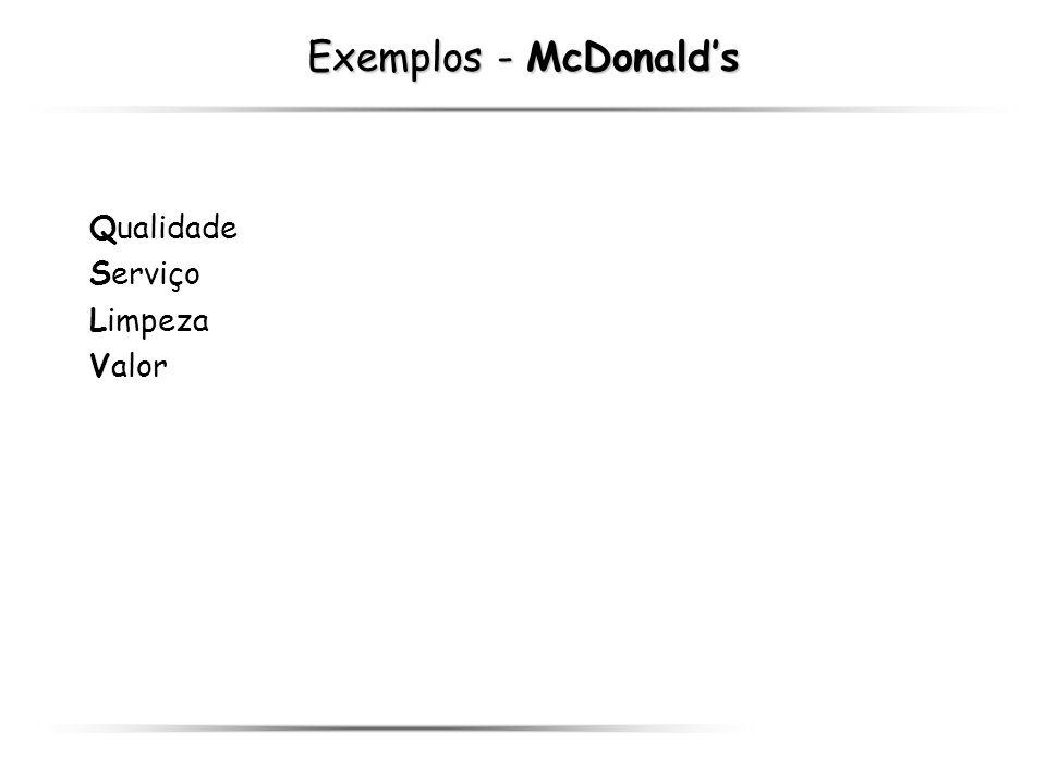 Exemplos - McDonald's Qualidade Serviço Limpeza Valor