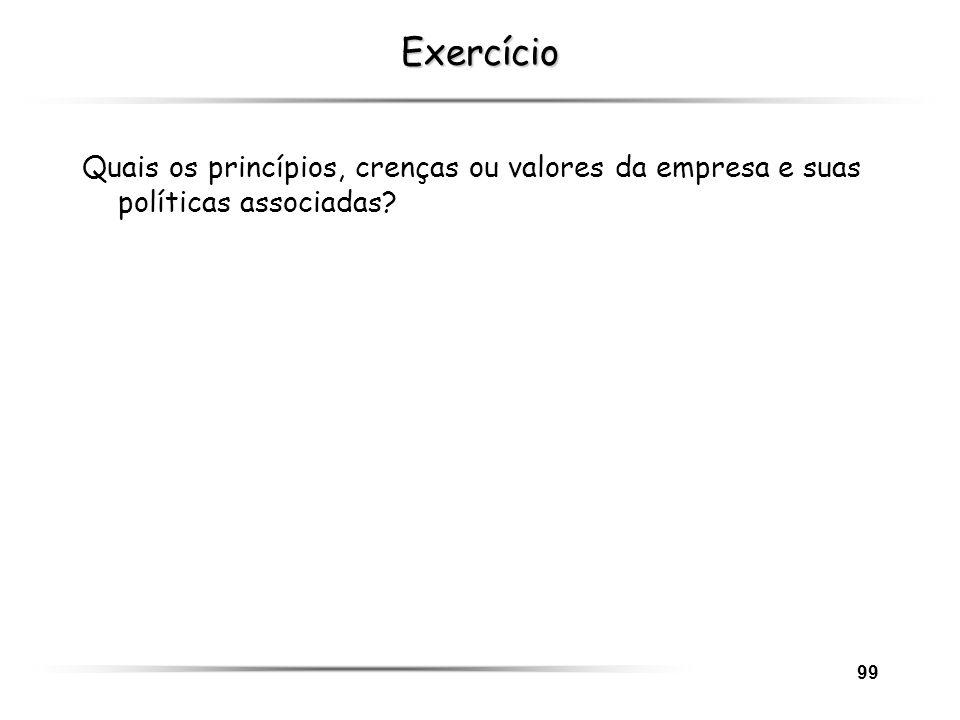 Exercício Quais os princípios, crenças ou valores da empresa e suas políticas associadas