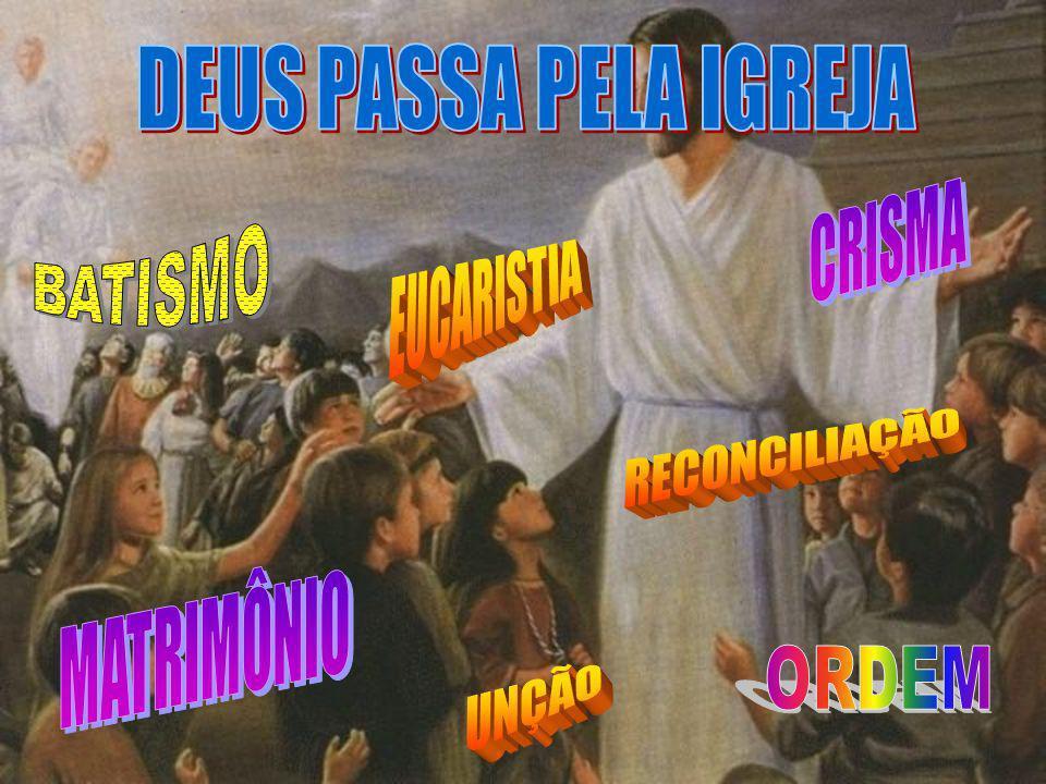 UNÇÃO DEUS PASSA PELA IGREJA CRISMA BATISMO EUCARISTIA RECONCILIAÇÃO