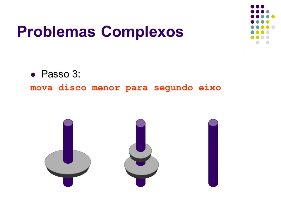 Problemas Complexos Passo 3: mova disco menor para segundo eixo