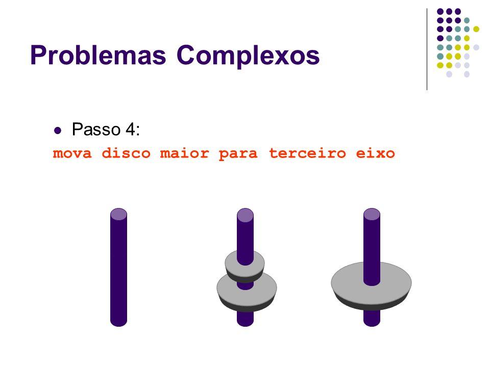 Problemas Complexos Passo 4: mova disco maior para terceiro eixo