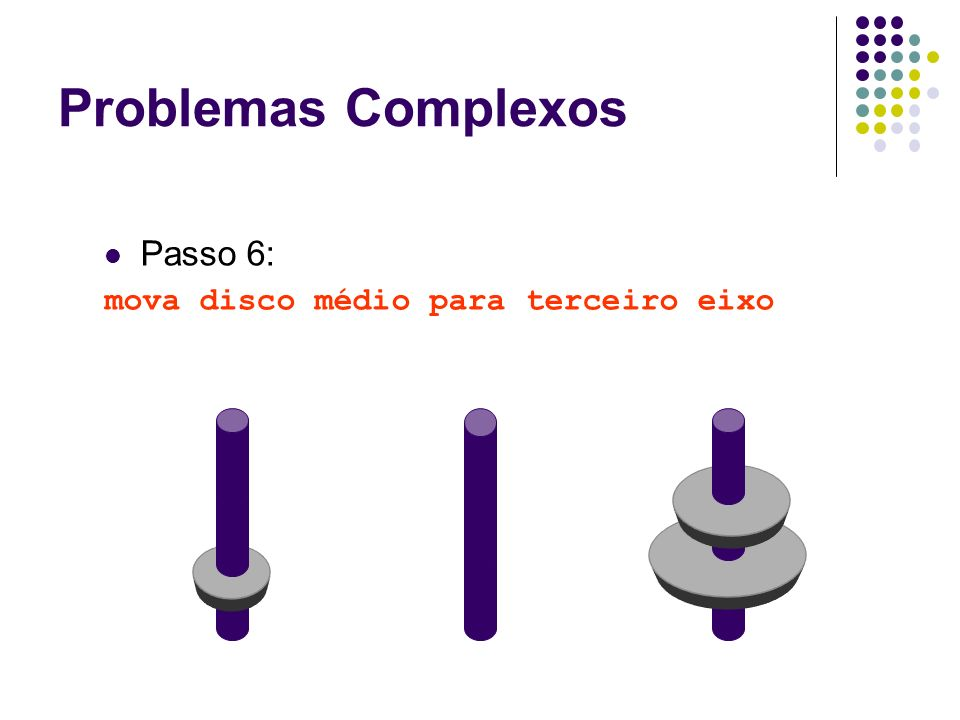 Problemas Complexos Passo 6: mova disco médio para terceiro eixo