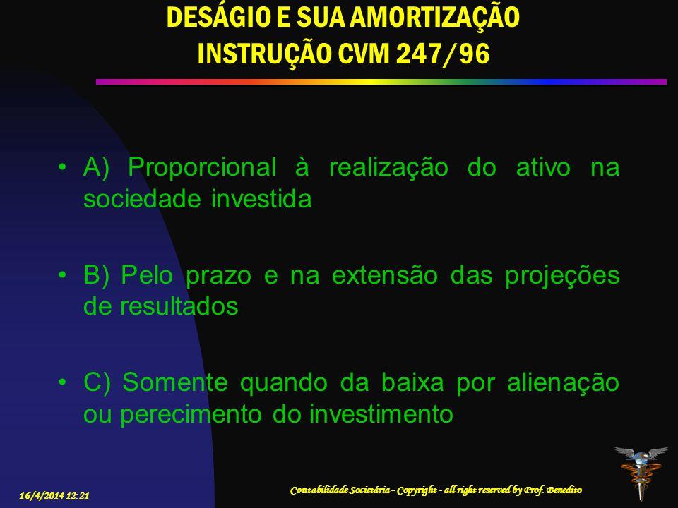 DESÁGIO E SUA AMORTIZAÇÃO INSTRUÇÃO CVM 247/96