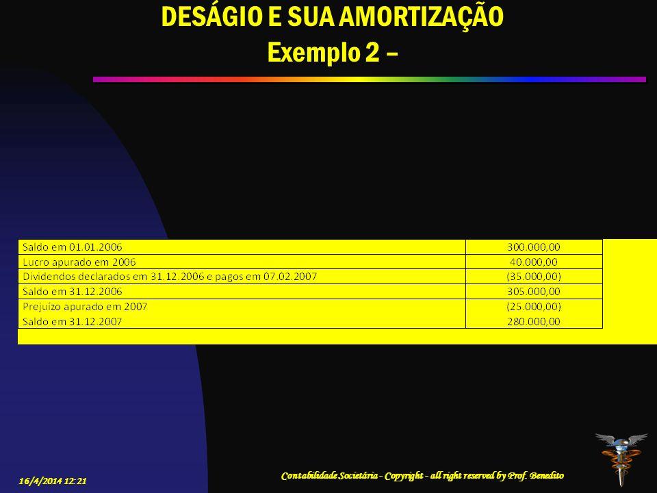 DESÁGIO E SUA AMORTIZAÇÃO Exemplo 2 –