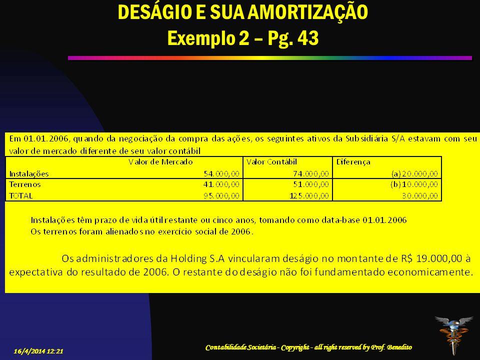 DESÁGIO E SUA AMORTIZAÇÃO Exemplo 2 – Pg. 43