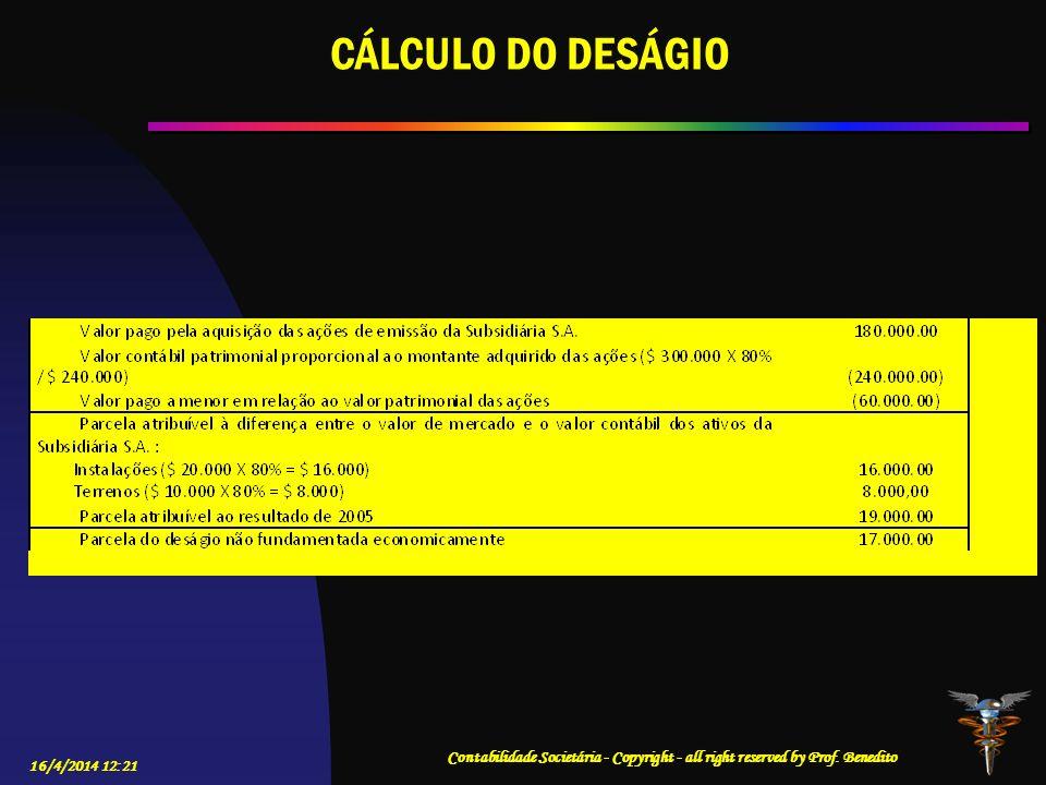 CÁLCULO DO DESÁGIO Contabilidade Societária - Copyright - all right reserved by Prof.