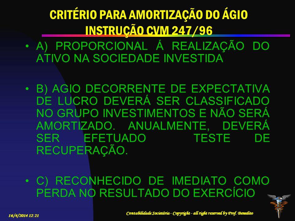 CRITÉRIO PARA AMORTIZAÇÃO DO ÁGIO INSTRUÇÃO CVM 247/96