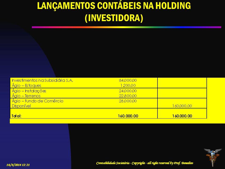 LANÇAMENTOS CONTÁBEIS NA HOLDING (INVESTIDORA)