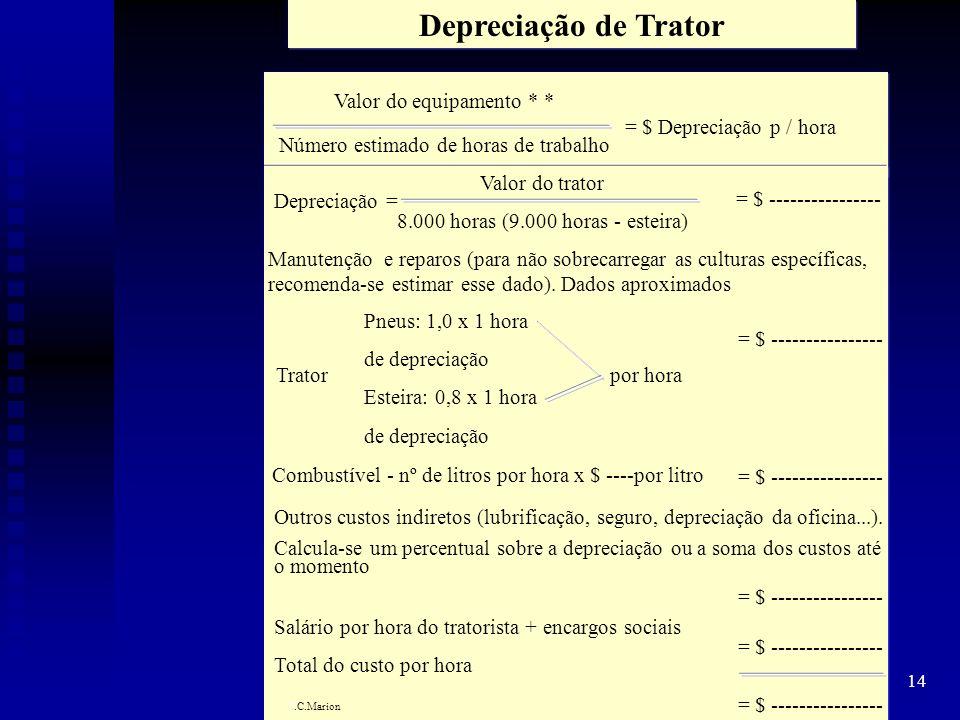Depreciação de Trator Valor do equipamento * *