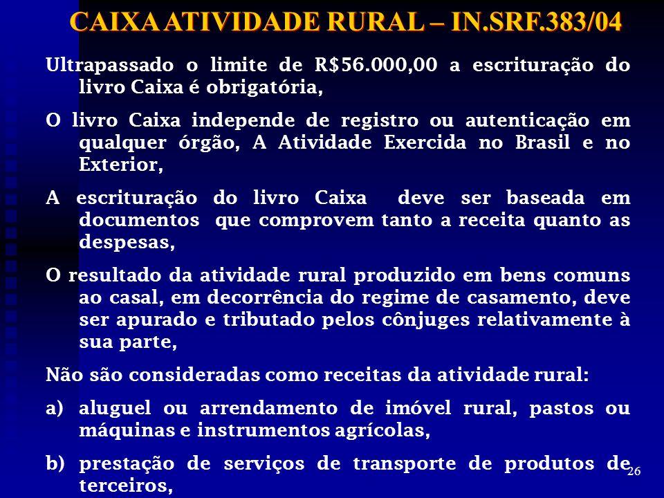 CAIXA ATIVIDADE RURAL – IN.SRF.383/04