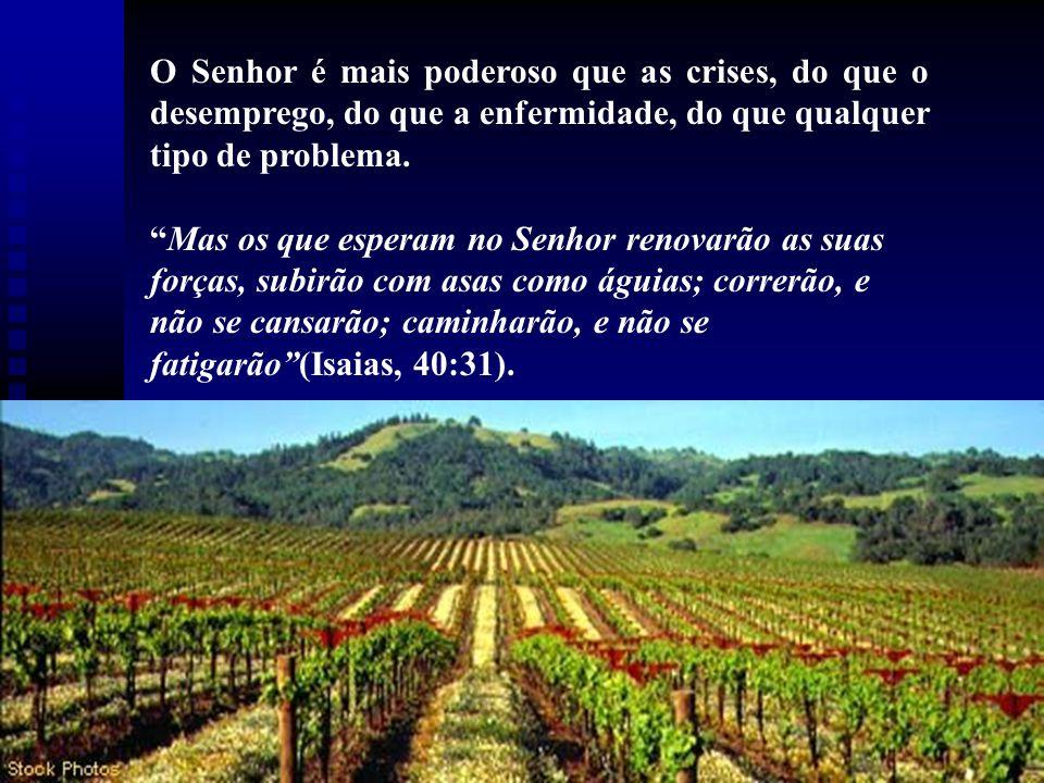 O Senhor é mais poderoso que as crises, do que o desemprego, do que a enfermidade, do que qualquer tipo de problema.