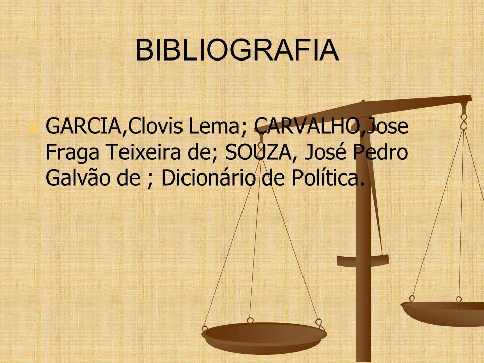 BIBLIOGRAFIA GARCIA,Clovis Lema; CARVALHO,Jose Fraga Teixeira de; SOUZA, José Pedro Galvão de ; Dicionário de Política.