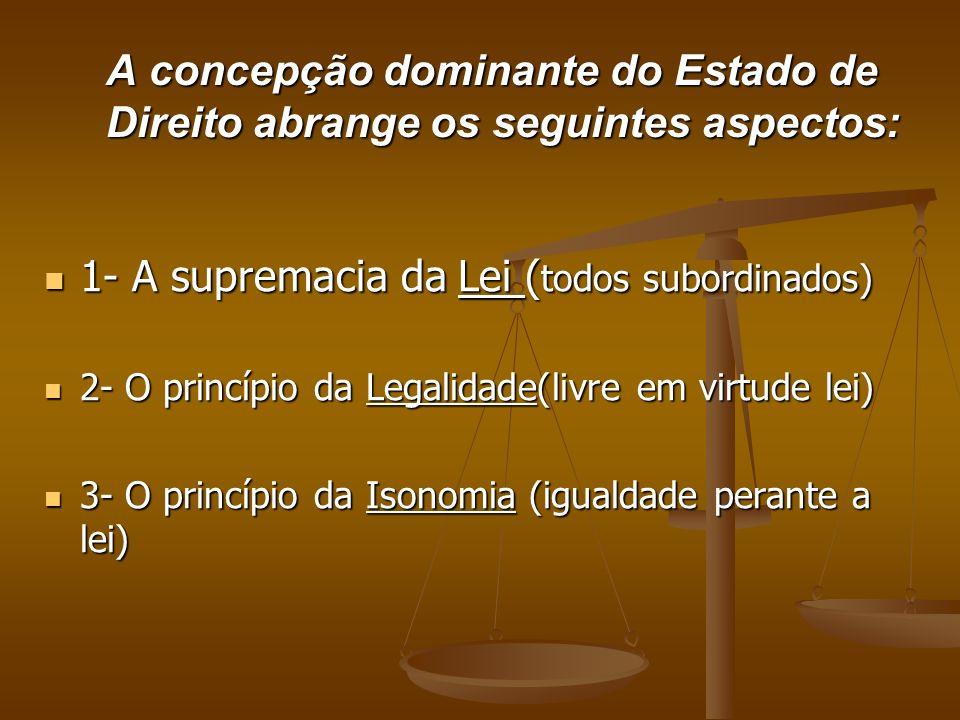 1- A supremacia da Lei (todos subordinados)