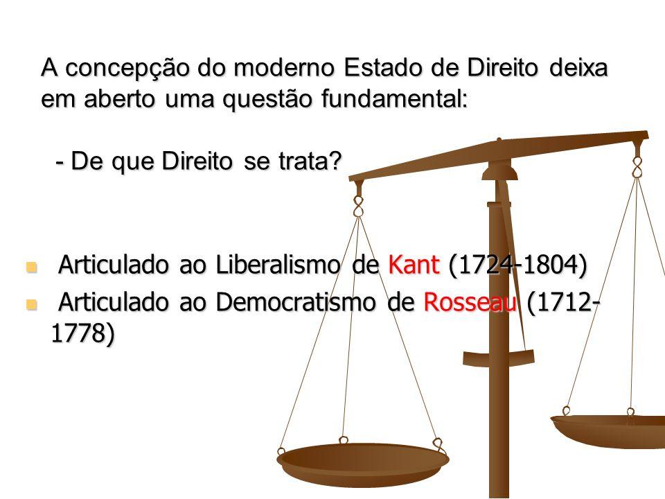 A concepção do moderno Estado de Direito deixa em aberto uma questão fundamental: - De que Direito se trata