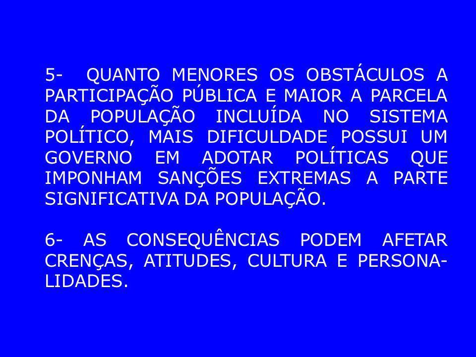 5- QUANTO MENORES OS OBSTÁCULOS A PARTICIPAÇÃO PÚBLICA E MAIOR A PARCELA DA POPULAÇÃO INCLUÍDA NO SISTEMA POLÍTICO, MAIS DIFICULDADE POSSUI UM GOVERNO EM ADOTAR POLÍTICAS QUE IMPONHAM SANÇÕES EXTREMAS A PARTE SIGNIFICATIVA DA POPULAÇÃO.