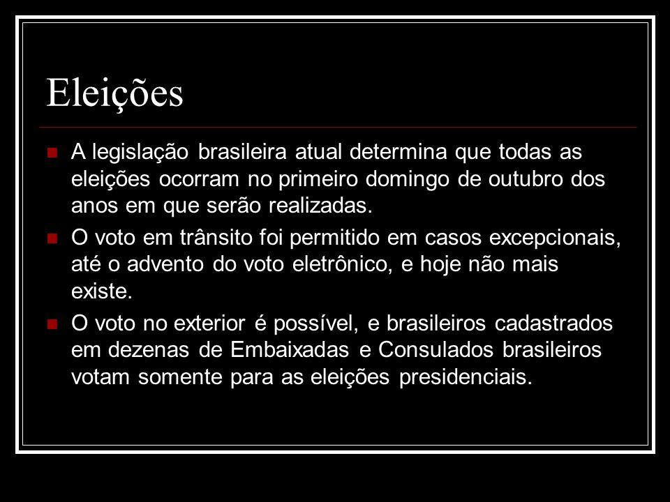 Eleições A legislação brasileira atual determina que todas as eleições ocorram no primeiro domingo de outubro dos anos em que serão realizadas.