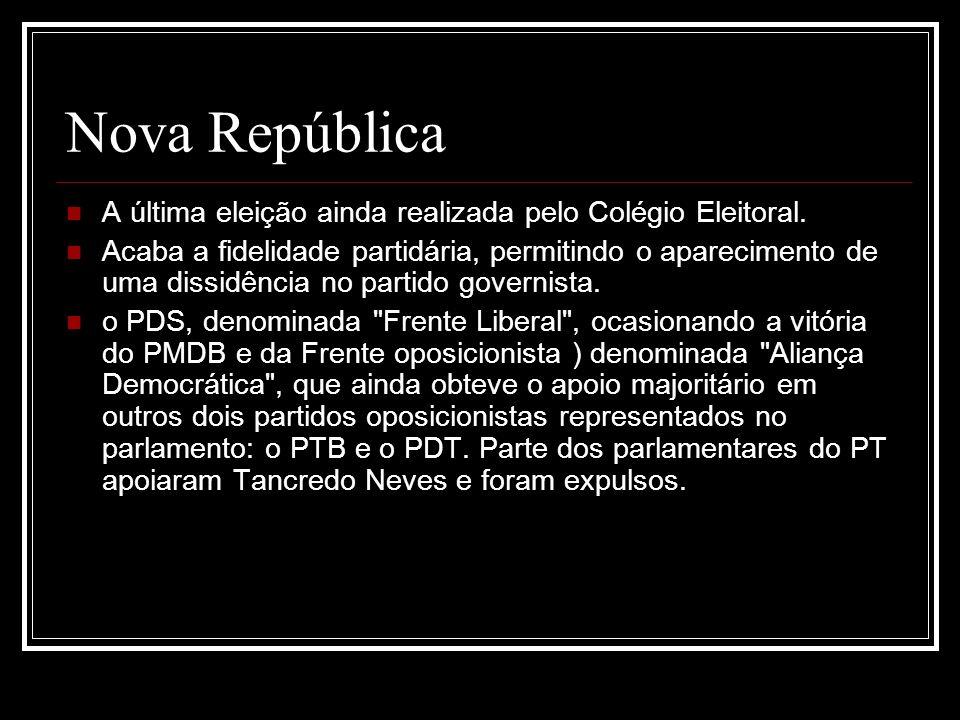 Nova República A última eleição ainda realizada pelo Colégio Eleitoral.